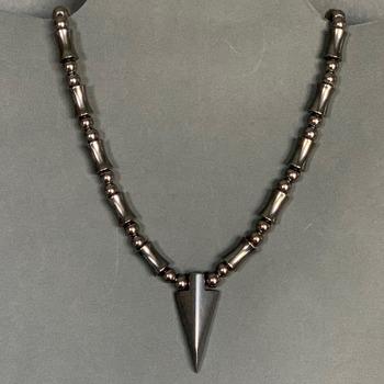 Hematite Bead Necklace with Hematite Arrowhead Pendant (Mens)