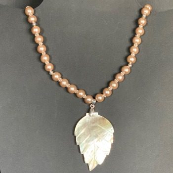 Smoke Pearl Necklace with Abalone Leaf Pendant