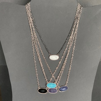 Stone Charm Necklaces in Various Colors