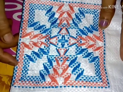 Table mat stitch on plastic Sack. Hand embroidery. Plastic Sack stitch.