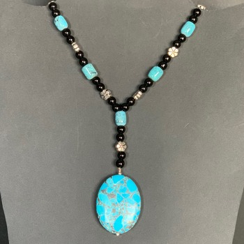 Turquoise Bead and Black Jasper Bead Necklace with Turquoise Mosaic Charm