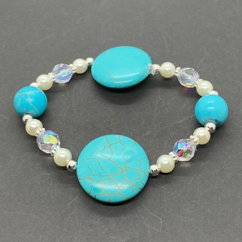 Turquoise Bead, White Pearl and Iridescent Bead Bracelet