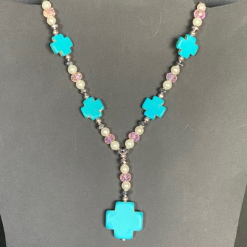 Turquoise Cross and Iridescent Bead Necklace