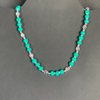 Turquoise Faceted Bead and Iridescent Bead Necklace
