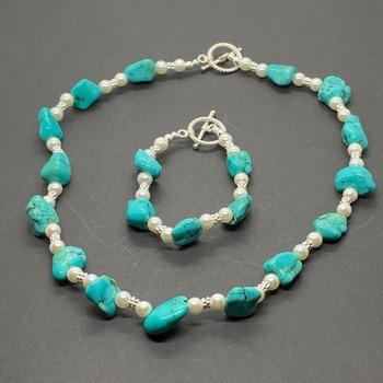 Turquoise Nugget and White Pearl Necklace & Bracelet Set