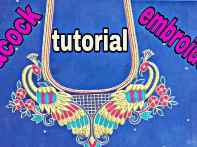 Tutorial new peacock aari embroidery | zardoshi embroidery | hand embroidery