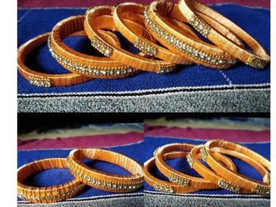 (diy) silk thread designer bangles at home.how to make designer silk thread bangles at home