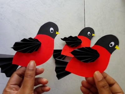 Easy paper birds tutorial for kids.it's not origami