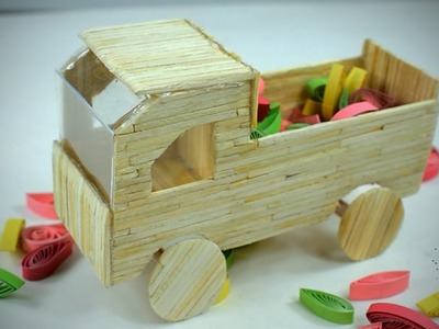How to Make a Matchstick Truck (Easy & Simple) - Toy Trucks DIY  - Matchstick Art & Craft, Showpiece