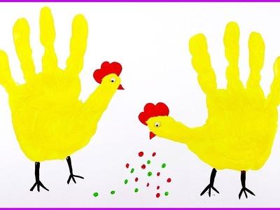 How to make Handprint Animal ⎮ Handprint hen craft ⎮Craft Idea ⎮ KIDKIDS TV #kids