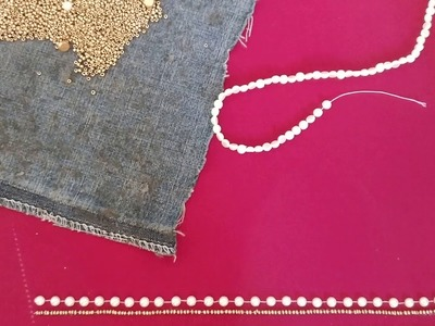 Pearl bead work chain stitch embroidery