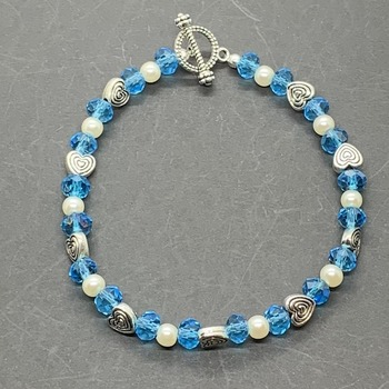 Turquoise Crackle Bead, Ivory Pearl and Antique Silver Heart Bead Bracelet