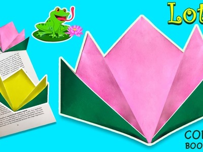 2 Colour Origami LOTUS Flower Bookmark Corner | Easy DIY Paper Crafts [4K]