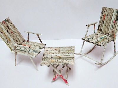 Best Out Of Waste Newspaper Craft Idea | DIY Rocking Chair and Table | Craft Nifty Creations