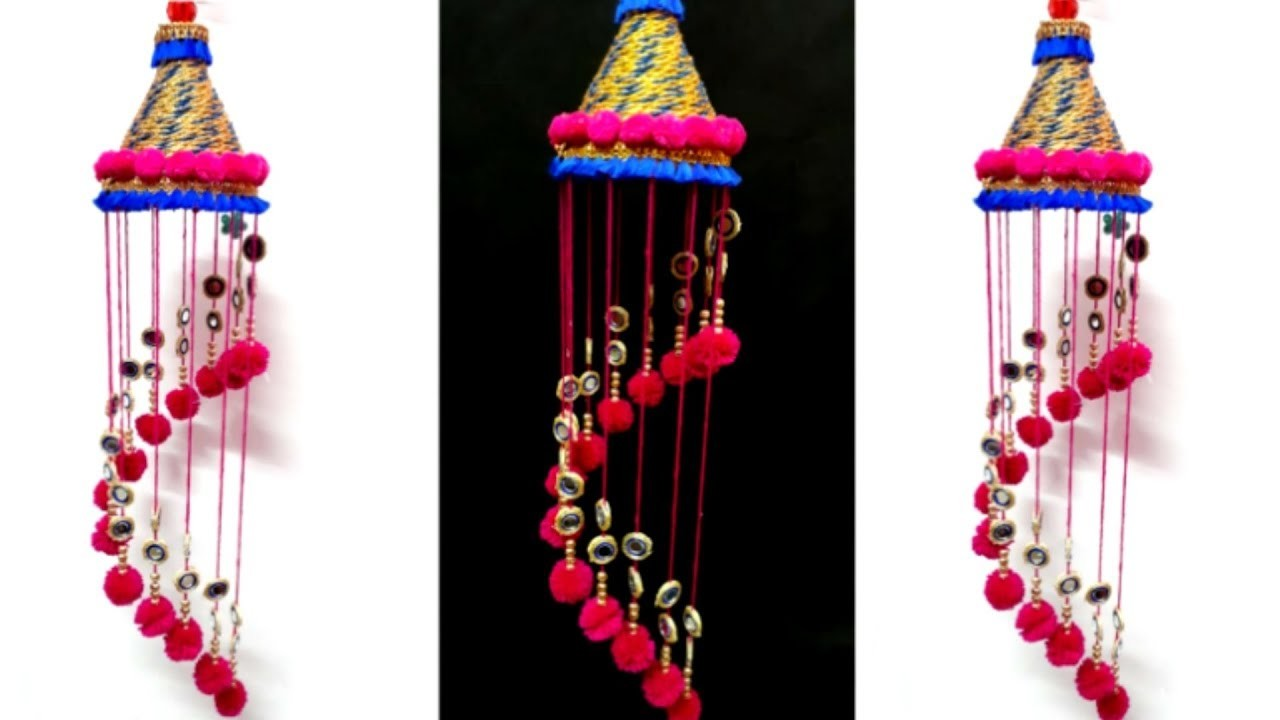 DIY- jhumar.wall hanging with wool and plastic bottle |wind chimes from wool