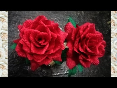 How To Make Rose Flowers From Crepe Paper.How To Make Paper Rose. Paper Flowers- Malayalam
