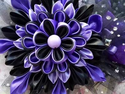 Kanzashi flowers cosplay gothic Lolita  headband headpiece hair accessory  black-purple