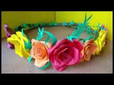 Paper Flower Crown  DIY।। only glue & paper।। Bridal Tiara By Ruba's Craft World????