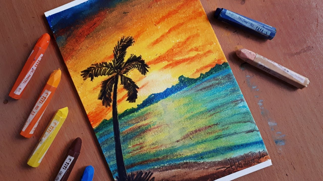 how to draw a sunset with pencil step by step