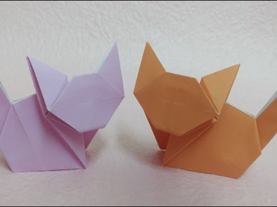 Easy Origami Cat Tutorial 簡單貓咪摺紙教學 Origami-Gato de Papel fácil #简单折紙 折り紙-(ねこ)1枚で全身作れる