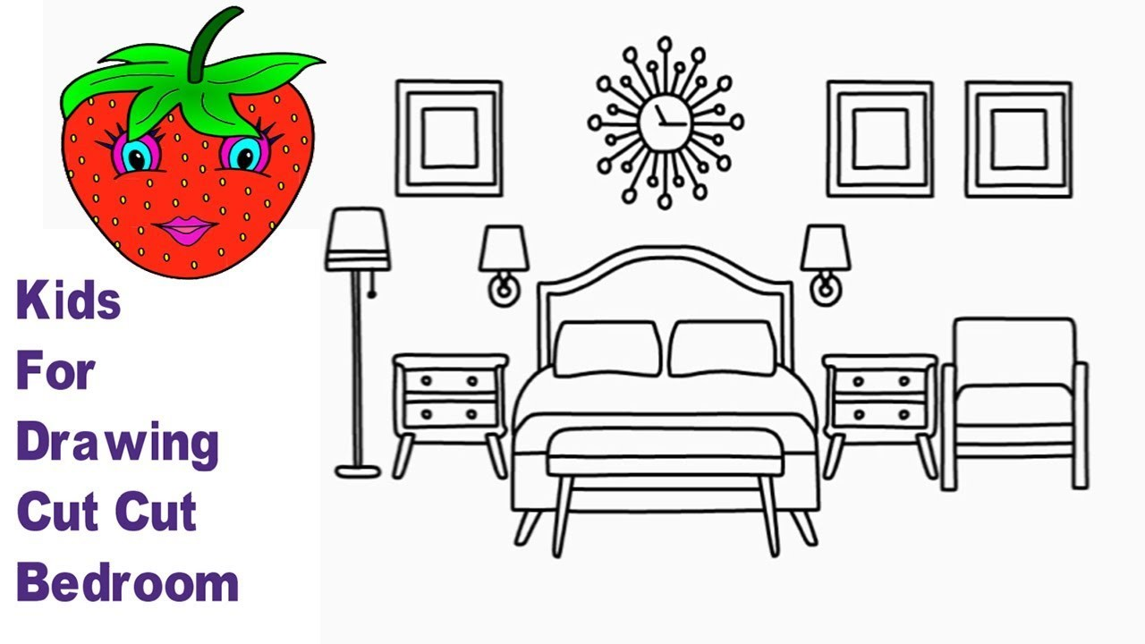 How to Draw Bedroom and Coloring For Kids (very Easy Drawing)