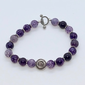 Amethyst Bead and Antique Silver Bead Bracelet