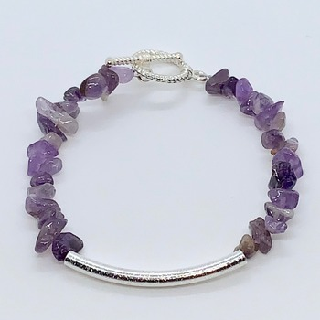 Amethyst Chip and Silver Bead Bracelet