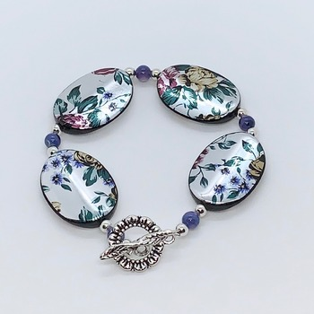 Black Flower Bead and Blue Bead Bracelet