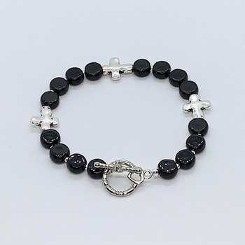 Black Jasper Bead and Antique Silver Cross Bead Bracelet