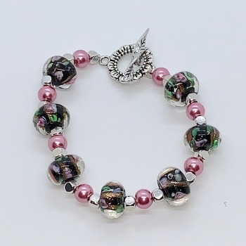 Black Marble Bead and Pink Pearl Bead Bracelet