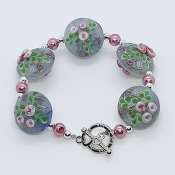 Blue and Pink Flower Bead and Pink Pearl Bracelet
