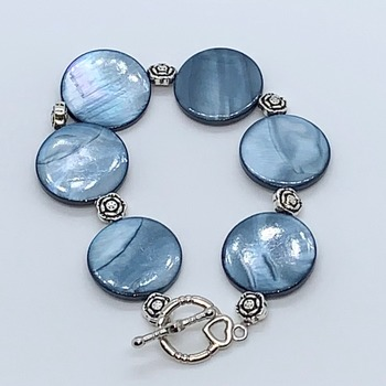 Blue Coin Shell Bead and Antique Silver Rose Bracelet