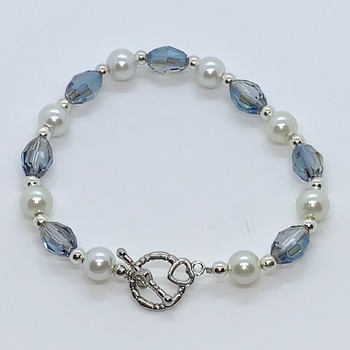 Blue Iridescent Barrel Bead and White Pearl Bracelet