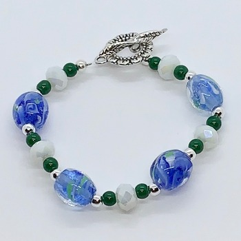 Blue Marble Bead and White Faceted Bead Bracelet