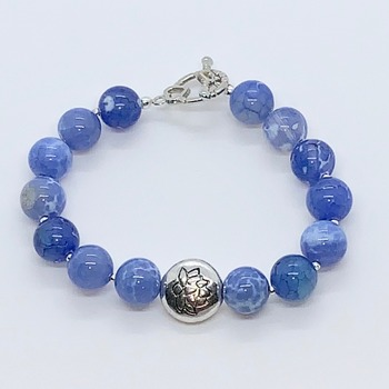Blue Marble Sodalite Bead and Silver Lotus Bead Bracelet