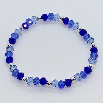 Blue Ombre Bead and Silver Bead Bracelet