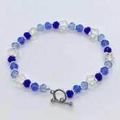 Blue Ombre Bead and Silver Star Bead Bracelet