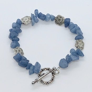 Blue Quartzite Chip and Antique Silver Flower Bead Bracelet