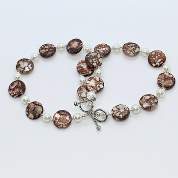 Brown and White Marble Bead and White Pearl Bracelet