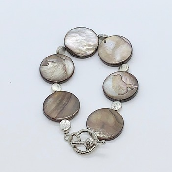 Brown Coin Shell Bead and Antique Silver Bead Bracelet