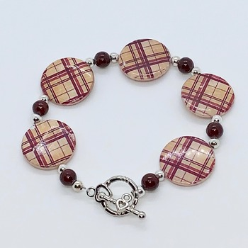 Burgundy Plaid Coin Shell Bead and Burgundy Bead Bracelet