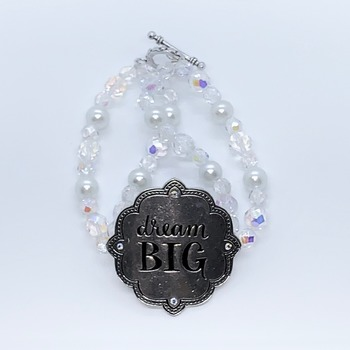 "Crystal Czech Bead and White Pearl """"Dream Big"" Bracelet"