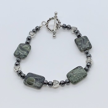 Dark Green Marble and Hematite Bead Bracelet