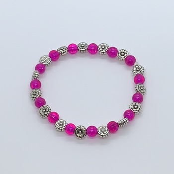 Dark Pink Crackle Bead and Antique Silver Flower Bead Bracelet