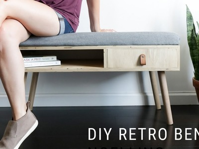DIY Retro Wood Entryway Bench || Upholstered Seat || How To Build A Bench
