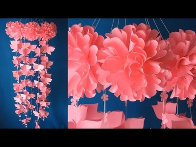 DIY. Wind Chime. Newspaper Craft. DIY Simple Home Decor. Hanging Flowers. Handmade Decoration