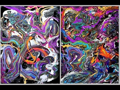 """Fluid acrylic pouring,Short time, ABSTRACT 18"""" x 24""""canvas Do'in dregs + #3362-9.4.18"""