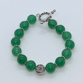 Green Aventurine Bead and Antique Silver Bead Bracelet