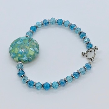 Green Mosaic and Aqua Bead Bracelet