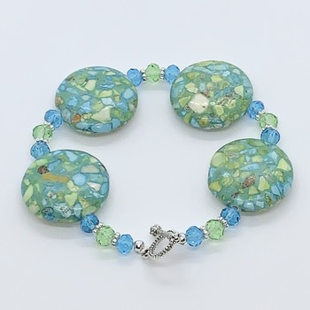 Green Mosaic Bead and Czech Bead Bracelet